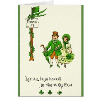 Retro irische Herzen sind wahren St Patrick Karte