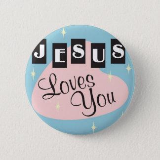 Retro - Jesus-Lieben Sie Runder Button 5,1 Cm
