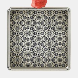 Retro kaleidoskopisches Muster Silbernes Ornament