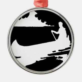 Retro Kanu-Silhouette Rundes Silberfarbenes Ornament