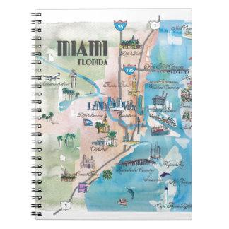 Retro Karte Miamis Florida Notizblock