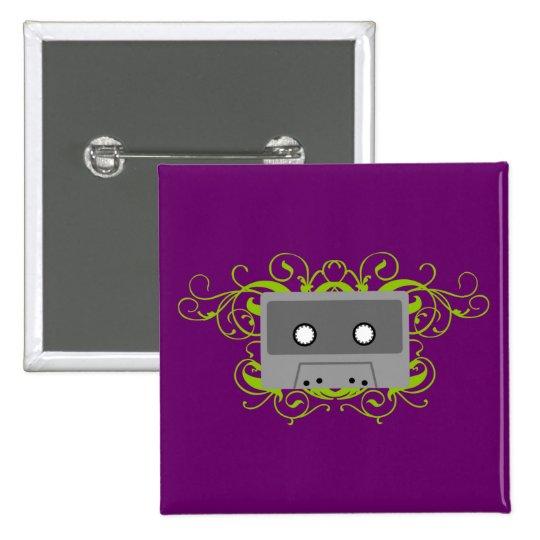 Retro Kassette Quadratischer Button 5,1 Cm