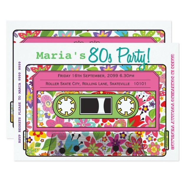 retro kassetten-band-80er party-thema-einladung 12,7 x 17,8 cm, Einladungsentwurf