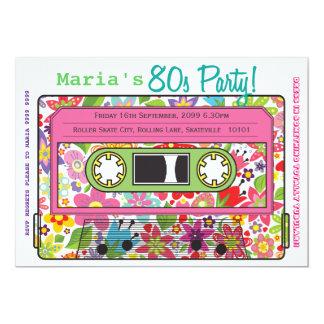 Retro Kassetten-Band-80er Party-Thema-Einladung 12,7 X 17,8 Cm Einladungskarte