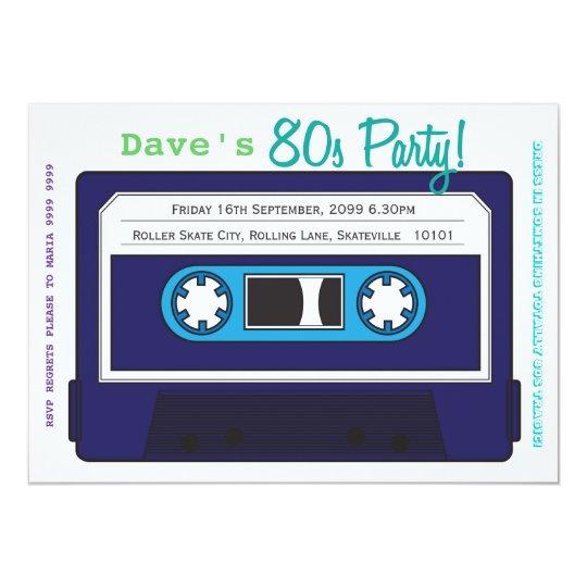 Retro Kassetten Band 80er Party Thema Einladung Karte