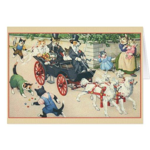 Retro Katzen-Heirat-Hochzeits-Karte