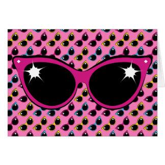 Retro Katzen-Sonnenbrille-Muster mit Rosa Grußkarte