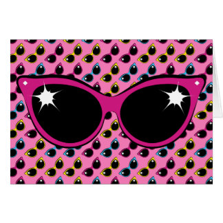 Retro Katzen-Sonnenbrille-Muster mit Rosa Karte