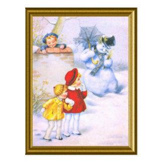 Retro Kinder und der Schneemann Postkarte