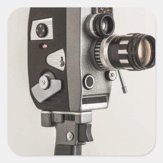 Retro Kinokamera Quadrat-Aufkleber