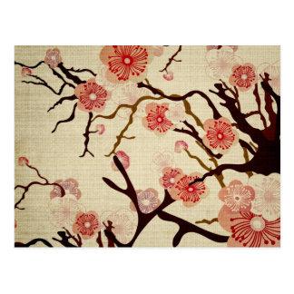 Retro Kirschblüten-Postkarte Postkarte