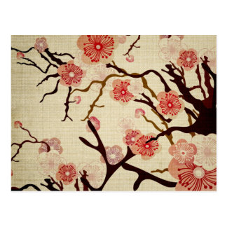 Retro Kirschblüten-Postkarte Postkarten