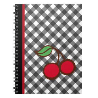 Retro Kirschgingham-Schulkantine-Notizbuch Spiral Notizblock