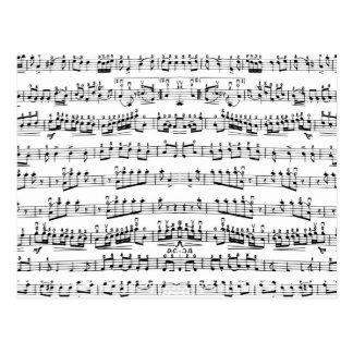 Retro Klavier-Blatt-Musiknoten-Muster Postkarte