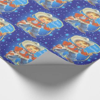 Retro kleiner Cowboy mit Seil-frohen Weihnachten Geschenkpapier