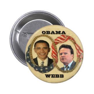 Retro Knopf Obama/Webb Runder Button 5,7 Cm