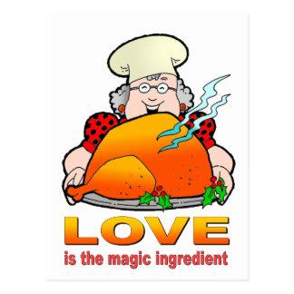 Retro kochendes Design.Love ist der magische Postkarten