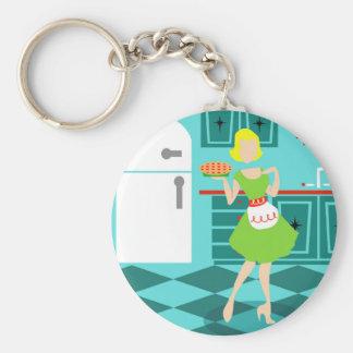 Retro Küchen-Knopf Keychain Standard Runder Schlüsselanhänger