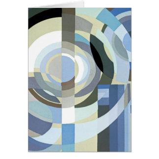 Retro Kunst-Deko-Jazz-Vintages blaues Kreis-Muster Karte