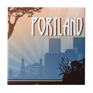 Retro Kunst Portlands, Oregon Fliese