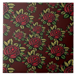 Retro Kunst-Rote Rosen der Keramikfliese hübsch
