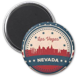 Retro Las Vegas-Skyline Runder Magnet 5,1 Cm