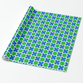 Retro Leuchtstoff blaues und grünes Quatrefoil Geschenkpapier
