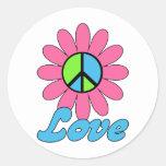 Retro Liebe-FriedensBlume Runde Sticker