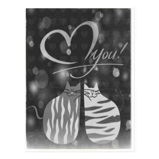 Retro Liebe Sie sprudelnde Herz-Katzen in der Postkarte
