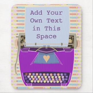 Retro lila Schreibmaschinen-Mitte- des Mousepad