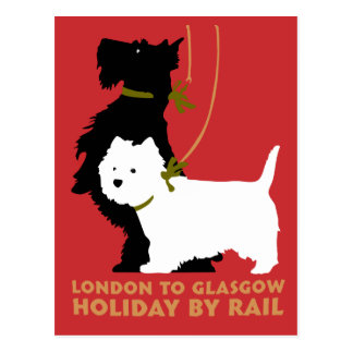 Retro London und Glasgow durch Zug, Hundeterrier Postkarte