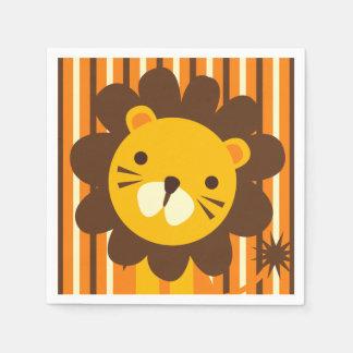 Retro Löwe auf Streifen-Papierservietten Papierservietten