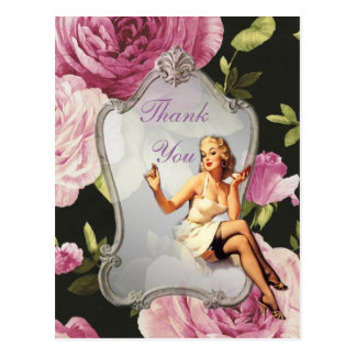 retro Mädchen Brautparty-Tee-Party danken Ihnen Postkarte