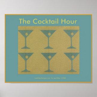 "Retro Martini ""die Cocktail-Stunden-"" Plakat"