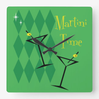 Retro Martini-Wanduhr Quadratische Wanduhr