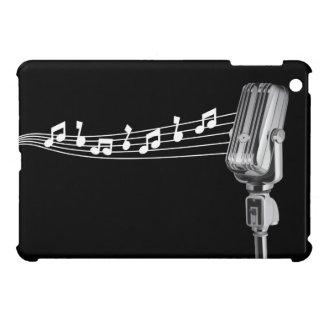 Retro Mic u. musikalische Anmerkungen schwärzen iPad Mini Hülle