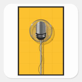 Retro Mikrofon-Aufkleber Quadratischer Aufkleber