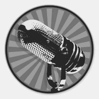Retro Mikrofon-Grafik Runder Aufkleber