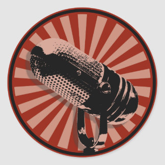 Retro Mikrofon-grafisches Rot Runder Aufkleber