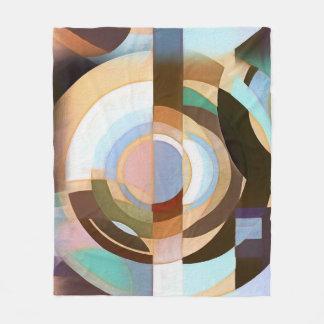 Retro Mod Brown und blaues Grapic Kreis-Muster Fleecedecke