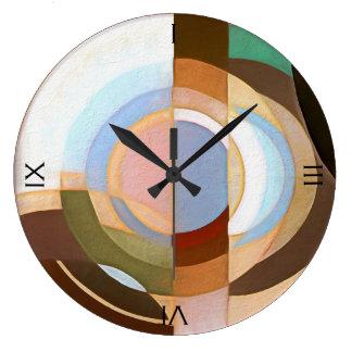 Retro Mod Brown und blaues Grapic Kreis-Muster Große Wanduhr