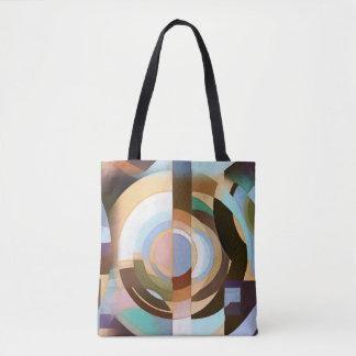 Retro Mod Brown und blaues Grapic Kreis-Muster Tasche