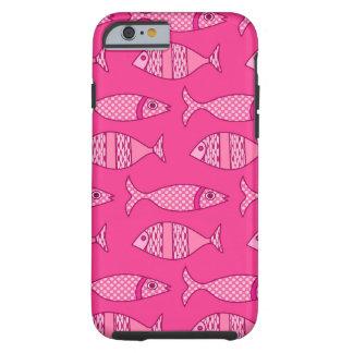 Retro moderne Fische, Fuchsie, hellrosa, tiefrosa Tough iPhone 6 Hülle