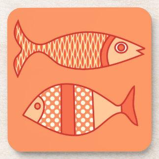 Retro moderne Fische, helle korallenrote Orange u. Getränkeuntersetzer