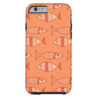Retro moderne Fische, helle korallenrote Orange u. Tough iPhone 6 Hülle