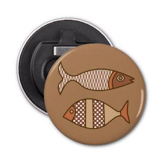 Retro moderne Fische, TAN, beige und hellbraun Flaschenöffner