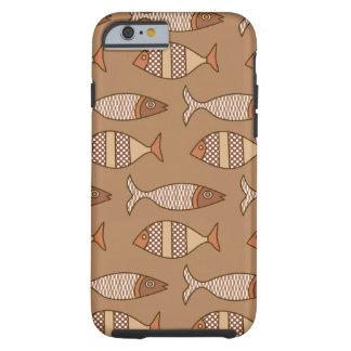 Retro moderne Fische, TAN, beige und hellbraun Tough iPhone 6 Hülle