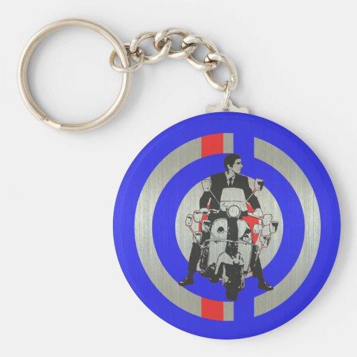 Retro Modrollerreiter metallisch Schlüsselanhänger