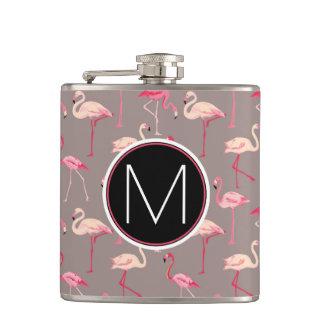 Retro Monogramm der Flamingo-| Flachmann