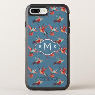 Retro Monogramm des Kolibri-Muster-  OtterBox Symmetry iPhone 8 Plus/7 Plus Hülle